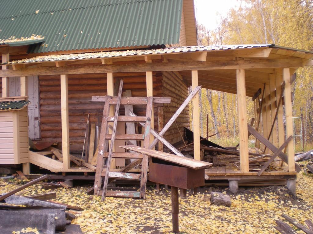 Строим крышу для веранды
